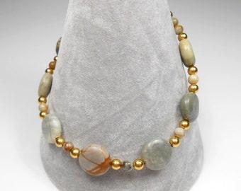 Semi Precious Picasso Jasper Coin Beaded Gemstone Bracelet Gold Beads Earthy Tone Bracelet Browns Greys Jasper Brown Bracelet UK