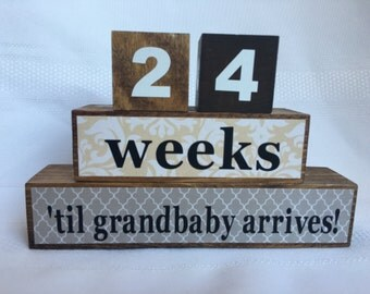 Grandparents Countdown Blocks, Grandparent Gift, New Baby, wood blocks