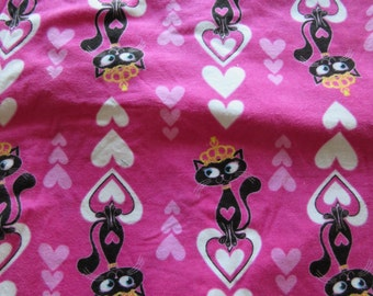 Princess Cat with Hearts Pink Cotton Fabric by the Metre, stretchy cotton fabric, printed washable cotton fabric
