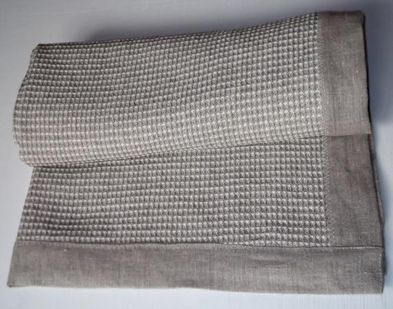 Organic Linen Bathroom Rug Washed Gray Ivory Linen Bath Mat