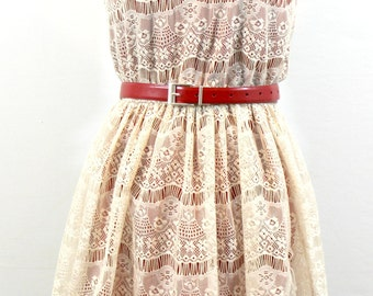 Red and Cream Lace Sleeveless dress by Marice with belt by Ann Klein. Sweet dress, summer dress, feminine dress, pretty dress