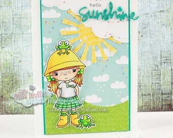 Hello Sunshine | Cute Handmade Greeting Card | Spring Girl Frogs
