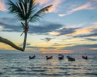 Palm Tree Ocean Sunset Thailand-Travel Photography-Wall Art-Fine Art Print-Photo-Home Decor