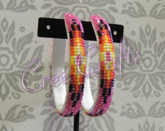 2 1/2 Inch Beaded Hoop Earrings