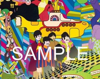 "Fabric Art Quilt Block The Beatles ""Yellow Submarine*  BEAT244- FREE Shipping"