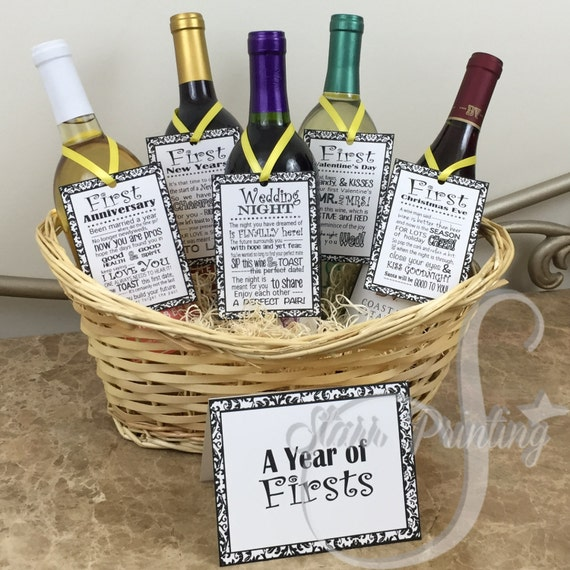 Wedding Shower Gift Basket Ideas : Sale set! Bridal Shower Wine Basket Gift Set with 5 tags and shower ...