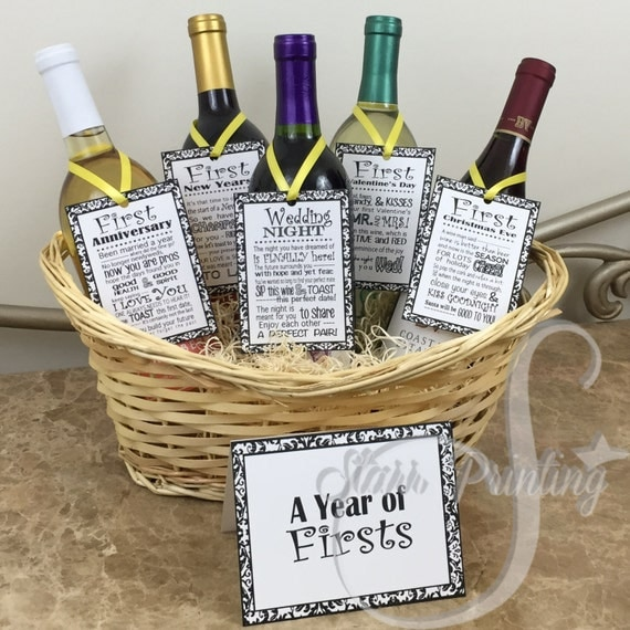Wedding Gift Basket Wine : Bridal Shower Wine Basket Gift Set with 5 tags and shower card (wine ...