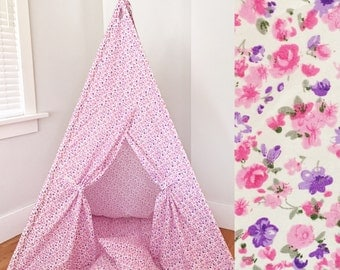 Children's Play Tent Handmade for Kids in Pink and Purple Floral Designer Fabric. Comes with Padded Mat Base Two Pillows!