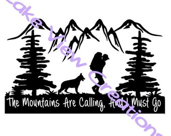 "The Mountain Is Calling, I Must Go Permanent Vinyl Decal Sticker  10"" x 5"""