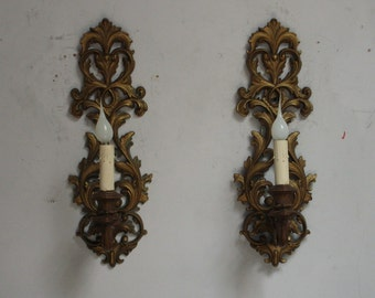 Pair of Hollywood Regency Style Sconces Rewired Wall Lamps Resin