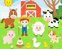 50% DISCOUNT SALE Farm Digital Clipart, Farm Clipart, Farm Animals Clipart, Animal Farm Clipart