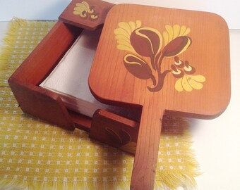Vintage Wood Napkin Holder - Picnic Painted Napkin Holder