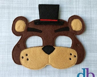 Bear Felt Embroidered Mask - Freddy the Bear Mask - Kid & Adult - Creative Play - Halloween Costume