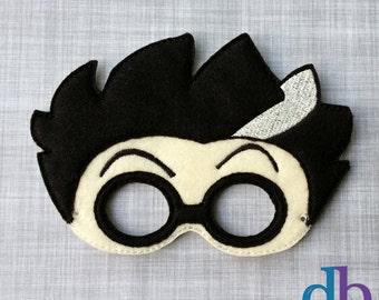 Felt Embroidered Mask - Mad Scientist Mask - Kid & Adult - Pretend Play - Halloween Costume