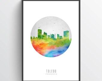 Toledo Ohio Skyline Poster, Toledo Cityscape, Toledo Print, Toledo Art, Toledo Decor, Home Decor, Gift Idea, USOHTO20P