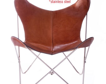 100% Handcrafted Original Butterfly Polo Leather Chair with Stainless Steel Frame, from Argentina (Big BKF)