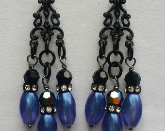 Black & Blue Chandelier Earrings/Gypsy Earrings/BOHO Earrings/Drop Earrings/Handmade/OOAK/Swarovski Earrings/Czech Glass Earrings/BOHO Drops