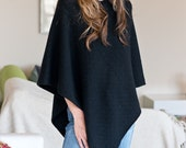 Midnight Black 100% Cable Knit Cashmere Ponchos