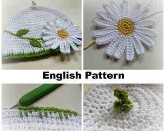 English Pattern -  Baby Beanie Daisy 0 - 12  months