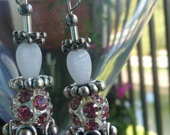 Opaque White Heart Shaped Dangle Earring set