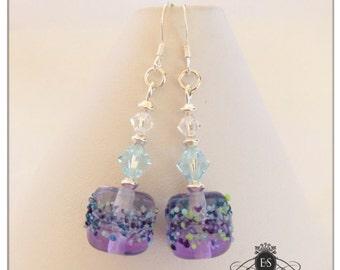 Moonlight & Lavender Blossom Lampwork Bead Earrings