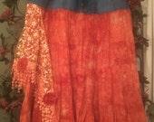 Plus Size Denim Skirt Gypsy Denim and Ruffles Skirt Jean Skirt Fairy Festival Floral Lace Hippie Boho Jean Skirt