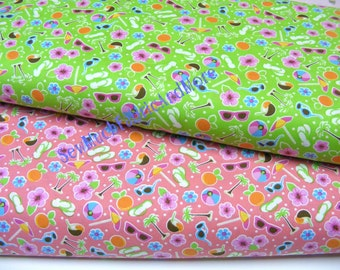 Tropical Beach Theme Fabric~by the yard~2 colors to pick~coral~chartreuse~flip flops~Coconut drinks~Flowers~sunglasses~beach balls~Santee