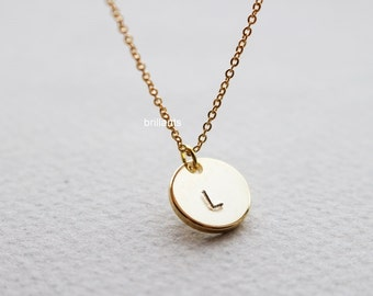 Personalized Initial coin necklace, Disc necklace,Everyday necklace, Monotram, Name necklace, Bridesmaid gift, Wedding necklace