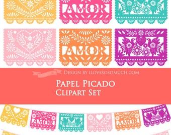 40% off Papel Picado / Fiesta Bunting / Bunting / Colorful Papel Picado Clip Art AMOR Set - Instant  Download
