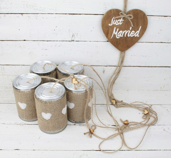 Tin can wedding car decorations rustic car decoration like this item junglespirit Image collections