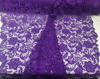 Imperial design guipure mesh lace fabric bridal wedding purple. Sold by the yard