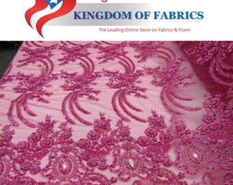 Heavenly bridal wedding beaded mesh lace fuschia. Sold by the yard