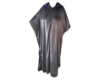 Silver Gray Velvet Kaftan with Hoodie, Caftan, Silver Velour House Dress, Lounge Wear, Swimsuit Cover, Velvet Mu-Mu,  Boho Velour Lounger