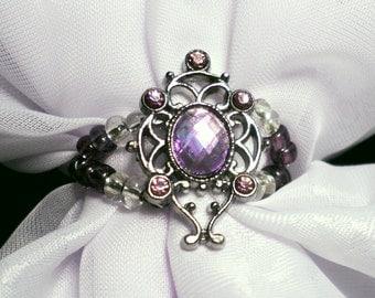 Scarf Jewelry, scarf slide, beaded curtain jewelry, stole jewelry, lilac violet owl sparkle bandanna slide, Headscarf slide, Headband bling