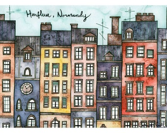 HONFLEUR NORMANDY Print 8x12 Ink and Watercolor Painting
