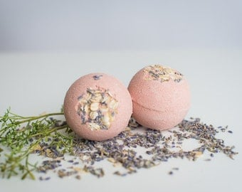 Lavender bath bombs scented with lavender essential oil all natural bath bomb bath fizzies