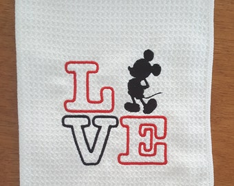 READY TO SHIP - Mickey Mouse Dish Towel - Waffle Weave or Flour Sack