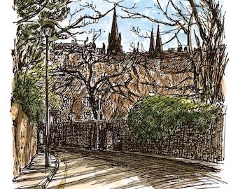 Edinburgh's skyline as seen from Dean Path. Print from an original watercolour sketch drawn on location in Edinburgh, Scotland.