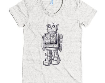 Sketchy robot - American Apparel Tri-Blend Short Sleeve Women's Track T - Made in USA