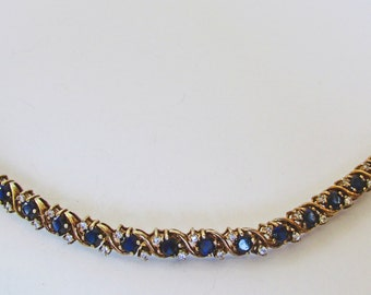 Vintage - Collectible - Sterling Gemstone Bracelet - Jewelry - Gold -  Gemstones - Sapphires - Sterling Silver - Bracelet - Large - Clear
