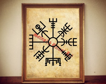 Vegvisir print, viking poster, icelandic stave art, nordic decoration, norse mythology, occult home decor, pagan, magic art, witchcraft #8
