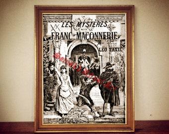 French Freemasonry print, masonic art, Baphomet illustration, Masons poster, occult print, occult art, ritual art, Paris print, vintage 204