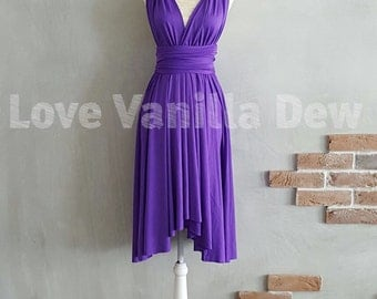 Bridesmaid Dress Infinity Dress Bright Purple Knee Length Wrap Convertible Dress Wedding Dress