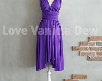 Bridesmaid Dress Infinity Dress Bright Purple Knee Length Wrap Convertible Dress Wedding Dress