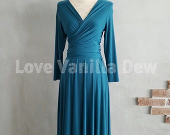 Pre-order: Bridesmaid Dress Infinity Dress Knee Length Midi Wrap Convertible Dress with Sleeves Wedding Dress