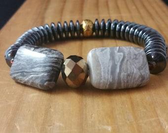Wood Jasper Stretchy Bracelet