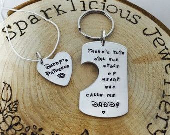 Hand stamped personalised father & daughter keyring and necklace pendant princess set. Gift for dad, daddy, father's day etc..