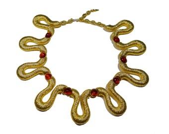 Vintage BOLD SNAKE Gold Collar Necklace c.1970's
