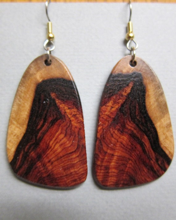 Rare Khamphi Rosewood Large Earrings ExoticWoodJewelryAnd handcrafted ecofriendly