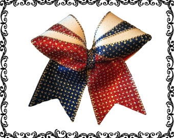 Double lined rhinestone glitter bow